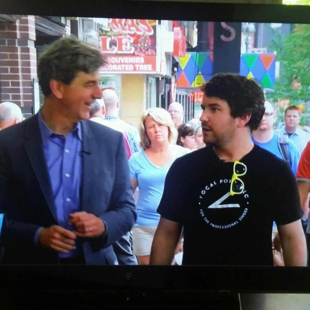 On NY1, student and 2016 Tony Nominee the great @abrightmonster sporting his VOCAL POWER LLC shirt for his TV interview at Cronut!