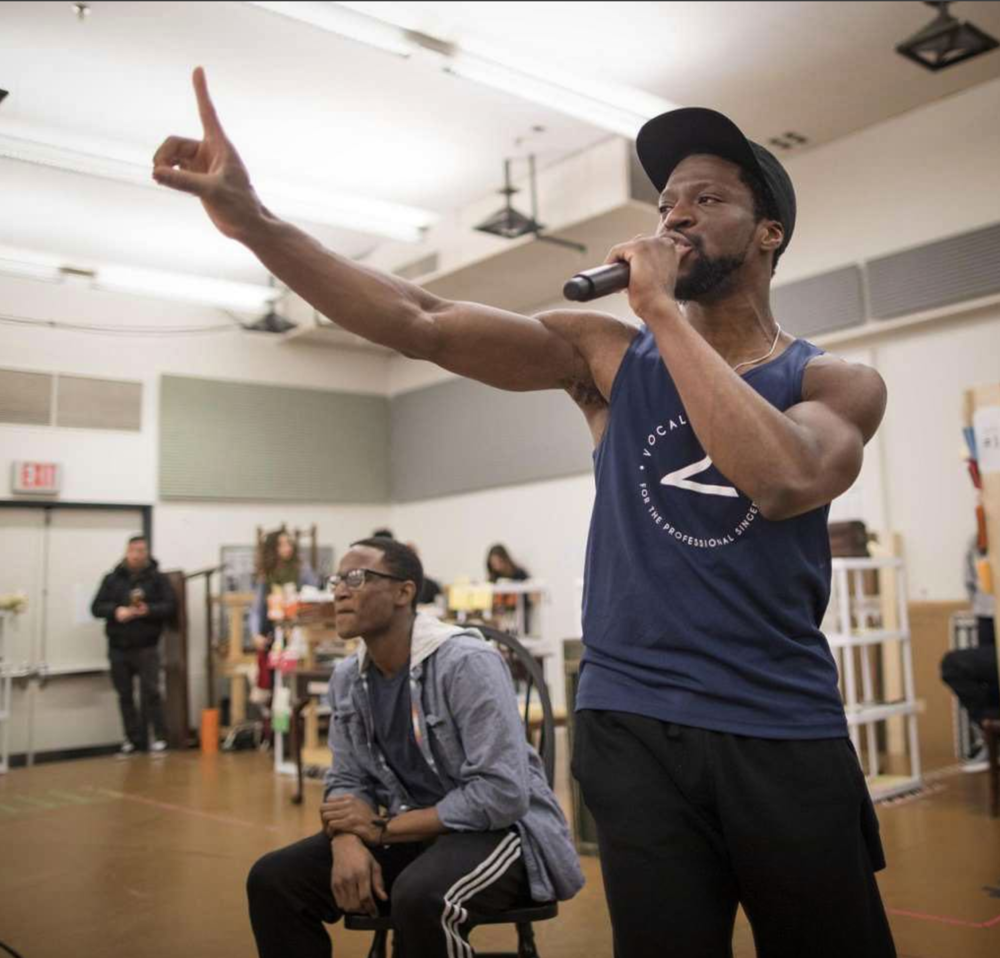 Michael Luwoye rehearsing for his role of Hamilton on Broadway.