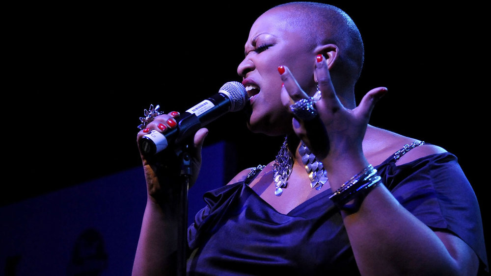 Frenchie Davis, The Voice contestant, performing live.