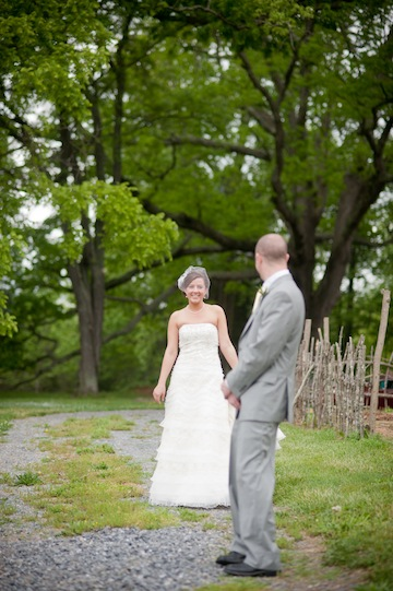 A first look shot of the Flora/Hicks wedding. Photo by Lori Hedrick Photography.
