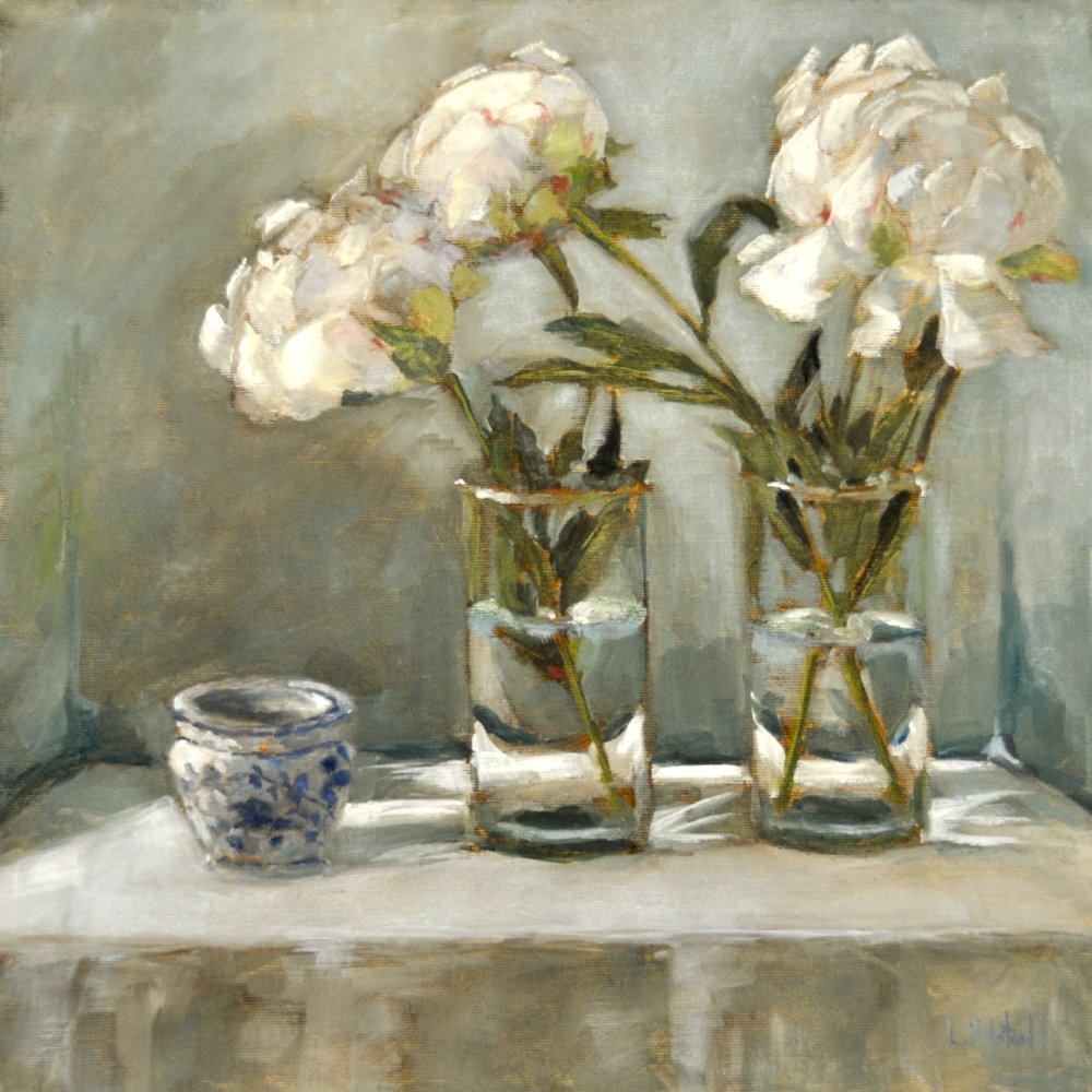 Three Peonies, Oil on Linen, 20 x 20,