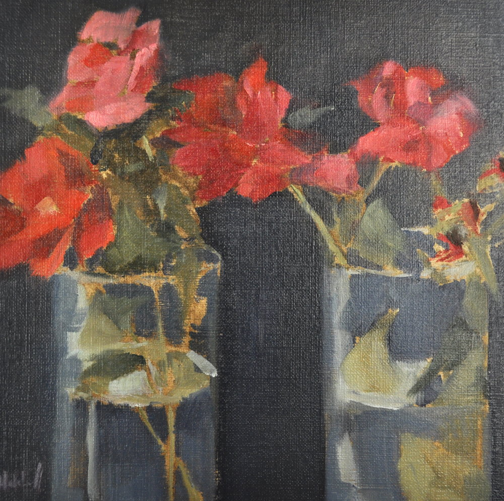 Glass and Rose, Oil o Linen, 8 x 8