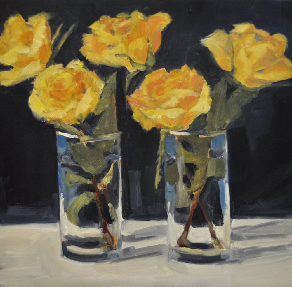 Five Yellows, Oil on Linen, 12 x 12