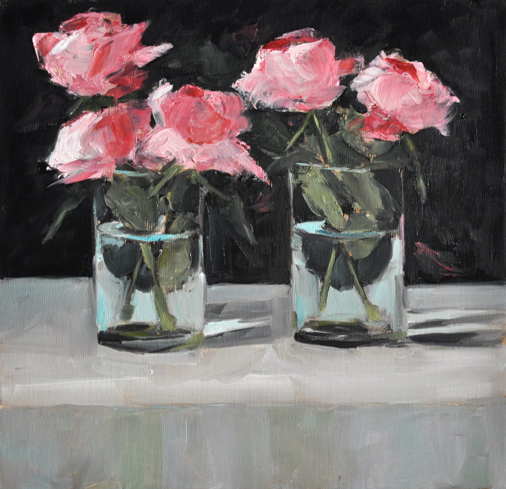 Five Pinks, Oil on Linen, 12 x 12
