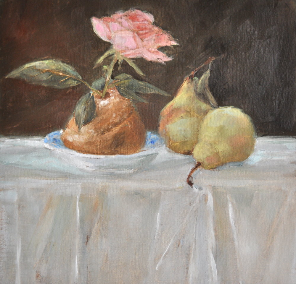 After Manet's Brioche, Oil on Linen, 12 x 12
