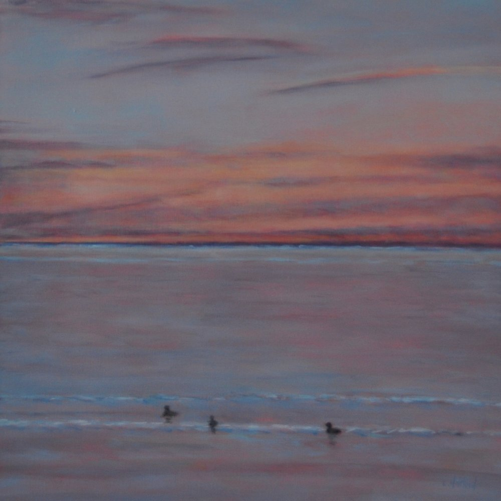 Winter Morning, Buffleheads Calling, Oil on Linen, 18 x 18, Available
