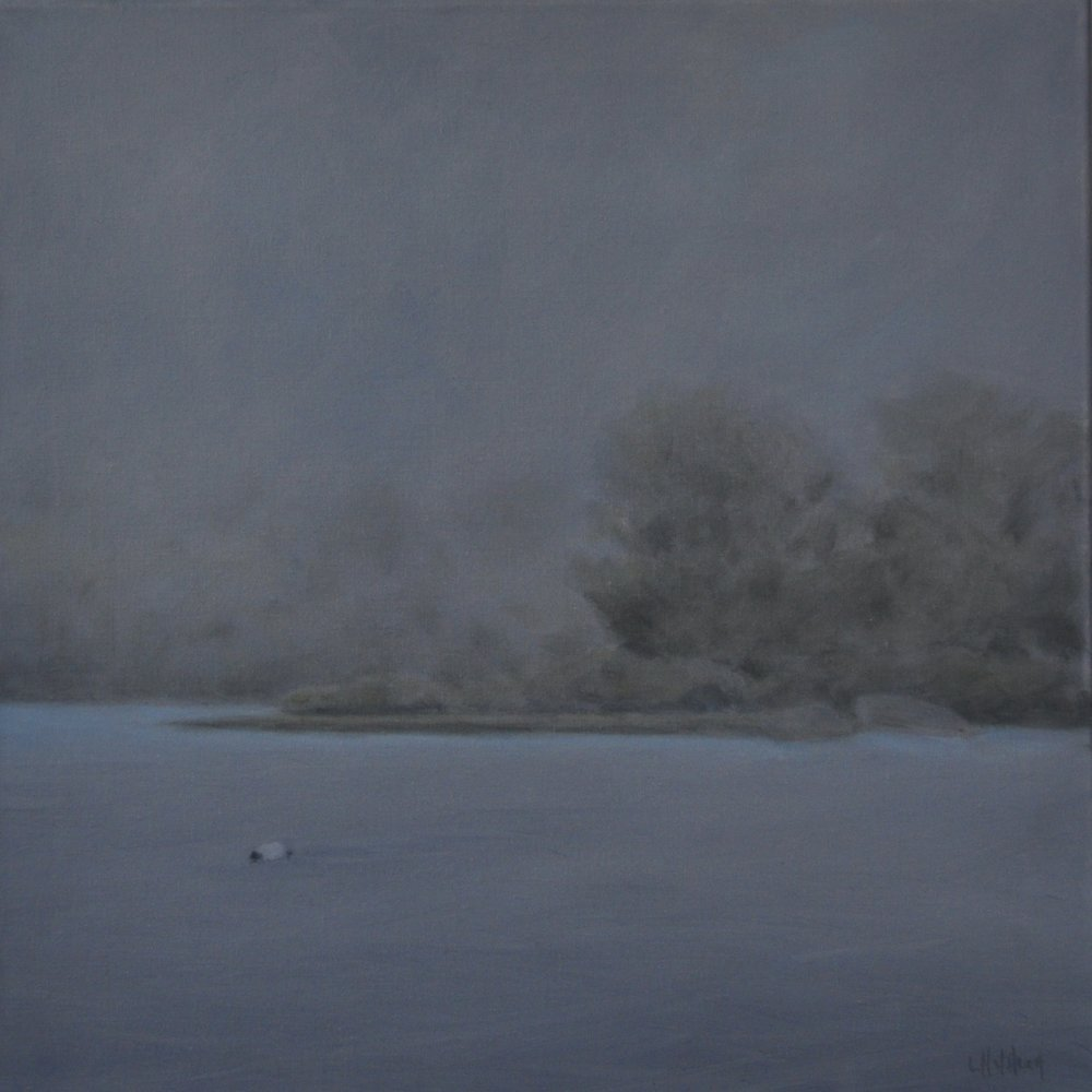 Fog on Judith Point, Oil on Linen, 18 x 18, Available