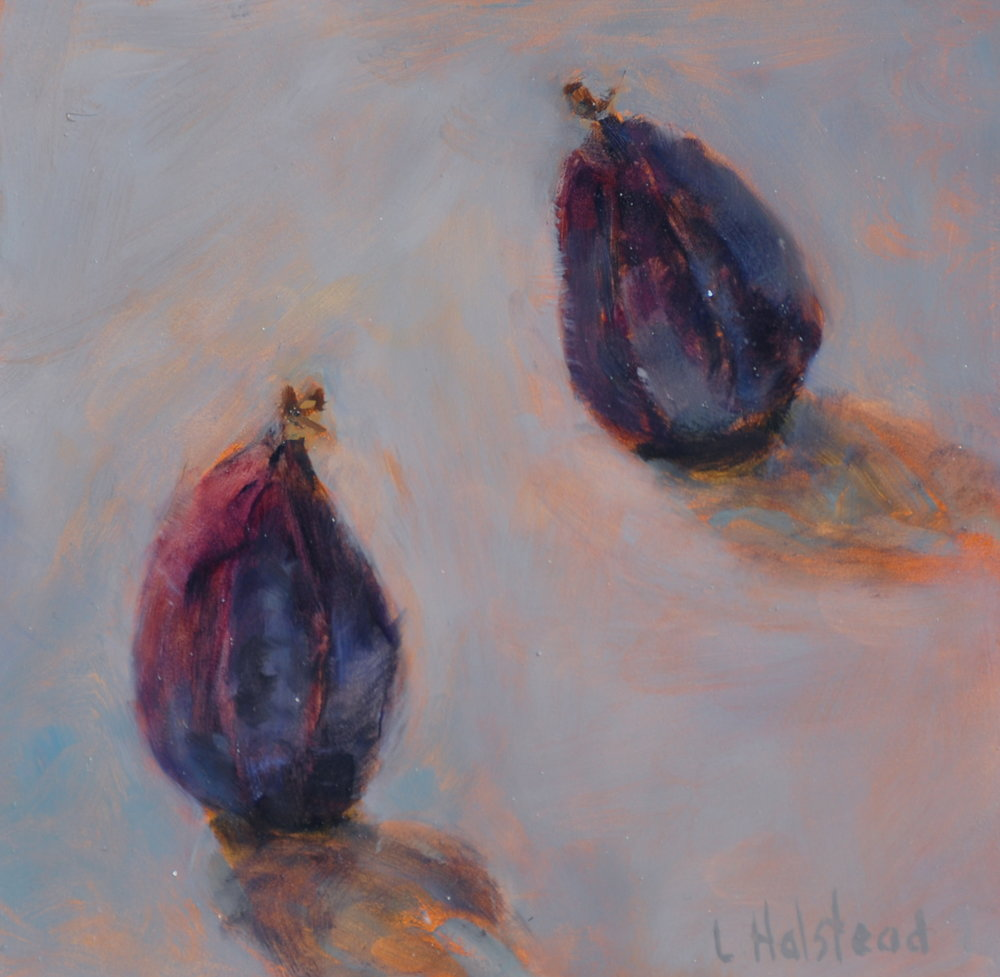 Two Figs, Oil on Linen, 6 x 6