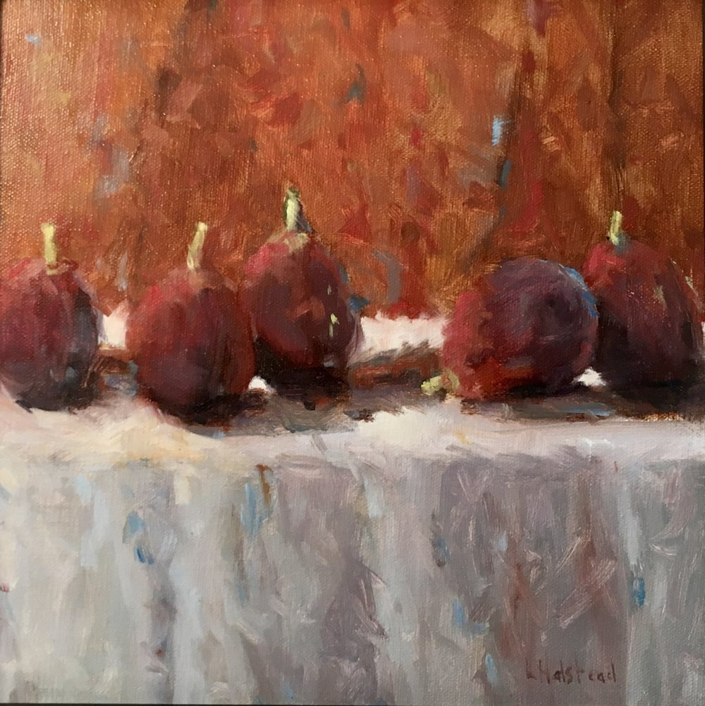 Venetian and Figs, Oil on Linen, 8 x 8, available