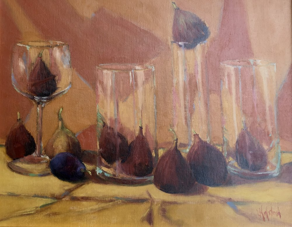 Nine Figs and Aplomb, Oil on Linen, 11 x 14, Available