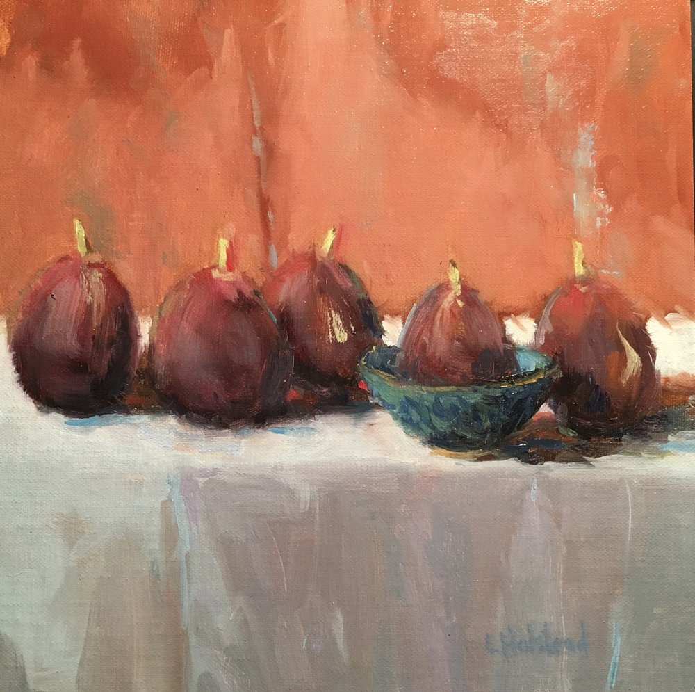 Figs, Venetian and Manganese, Oil on Linen, 8 x 8, Donated