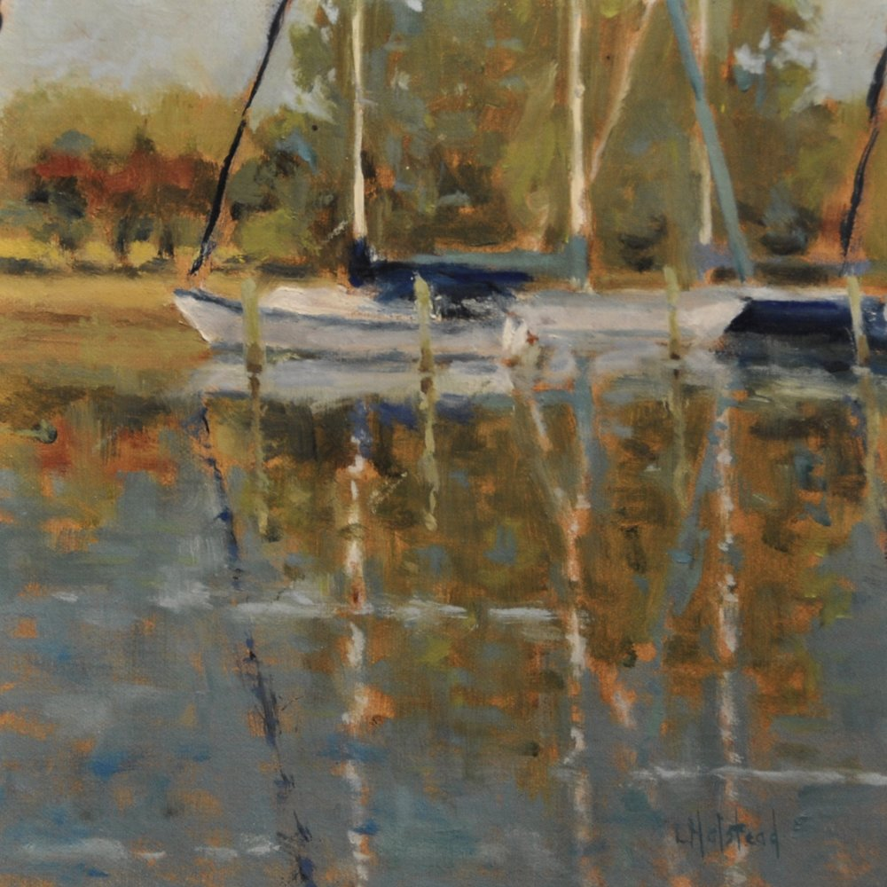 Three in the Marina, Oil on Linen, 8 x 8, available
