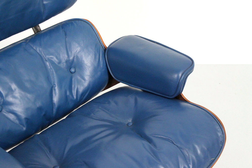 Rare Blue Eames Lounge repaired