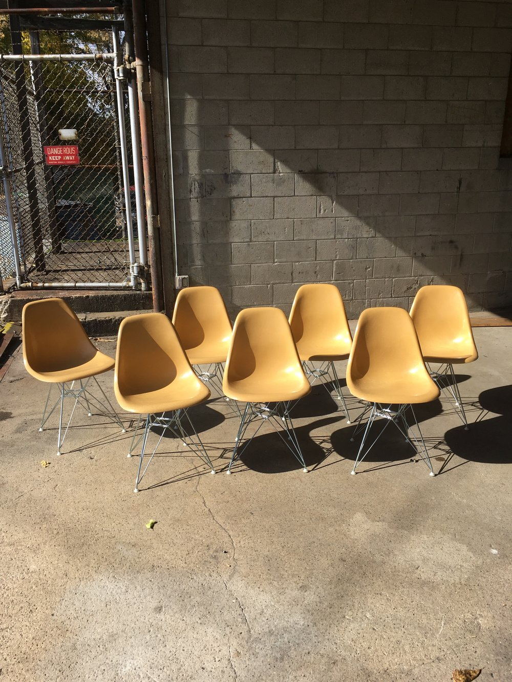 Eames fiberglass shell chairs restored