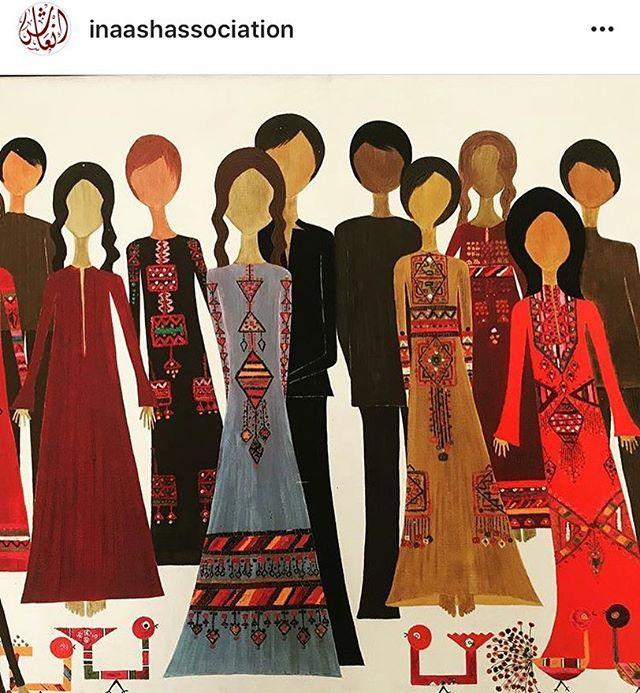 Charming painting of #Palestinian embroidered thoubs by the late Joumana Husseini #regram @inaashassociation #inaashassociation #palestinian #embroidery #crossstitch #textiles #painting #art #culture #history #palestinianembroidery @wafanator @tatreezandtea