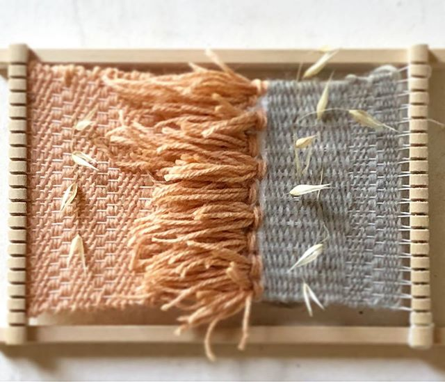 Weaving study: wool & Tuscan nature 🌾 #mini #weaving #plainweave #tapestryweaving #wool #nature #italy #tuscany #artistresidency #lavallonea #ihavethisthingwithtextiles #capalbio