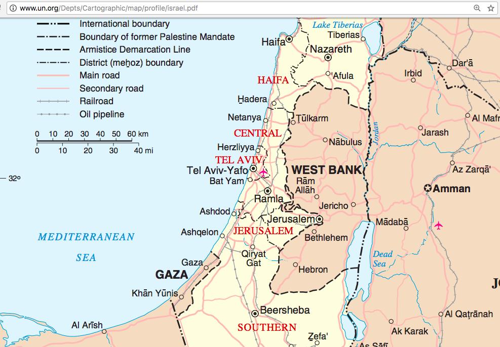 FNs karta över området. Jordaniens huvudstad Amman är markerat med en stjärna. Jerusalem är det inte.