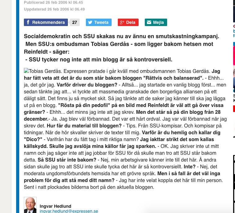 Expressens artikel om Tobias Gerdås.  Finns här !
