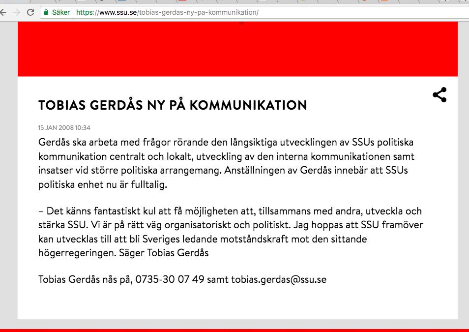 Tobias Gerdås ny på kommunikation SSU 2008.png