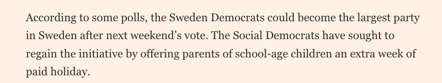 We call the bribe that the social democrats has thrown out election pork.