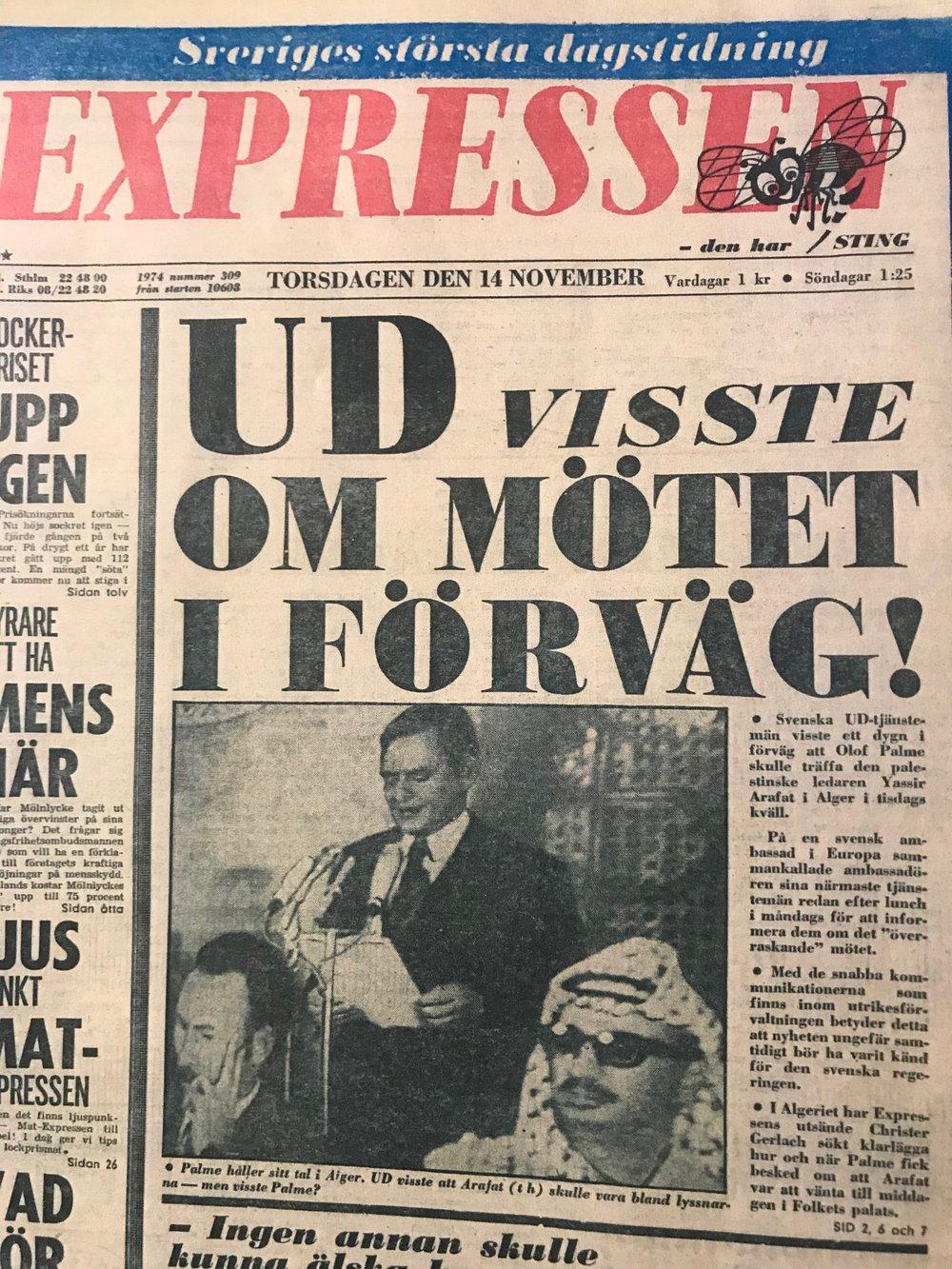 Expressens förstasida den 14:e november 1974