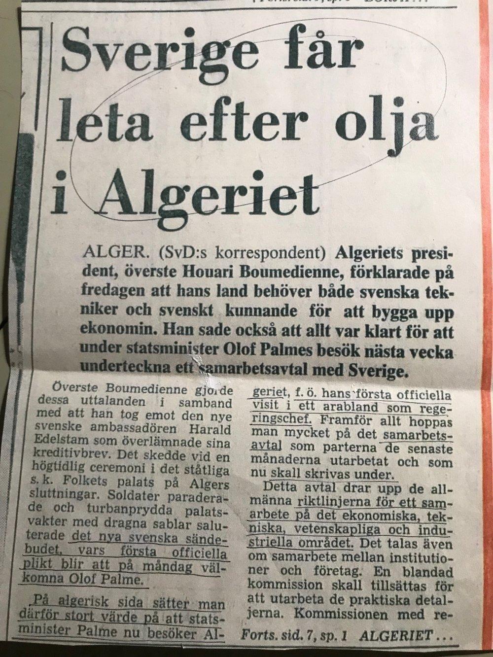 Svenska Dagbladet en vecka innan Palme träffar Arafat i Algier, sid 1, november 1974