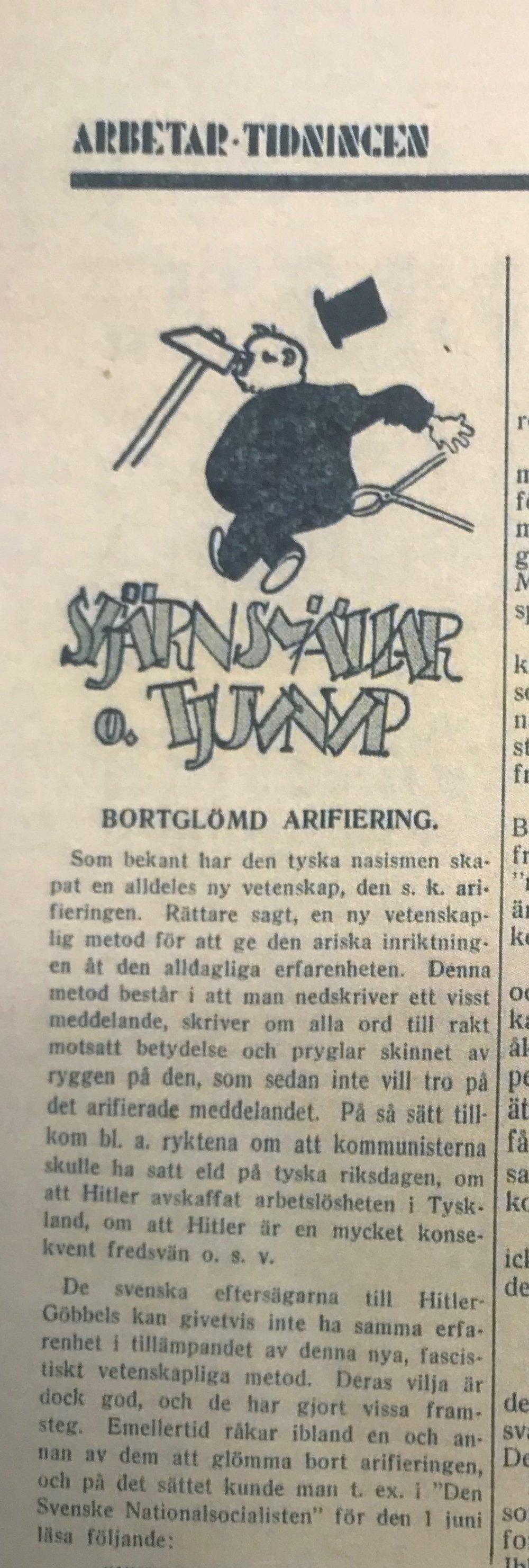 """""""Bortglömd arifiering"""" i Arbetar-tidningen"""
