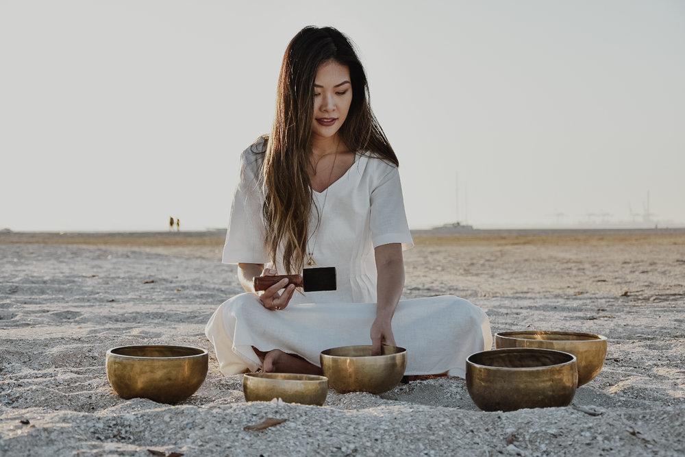 Mirosuna's Sally with her Tibetan Singing Bowls