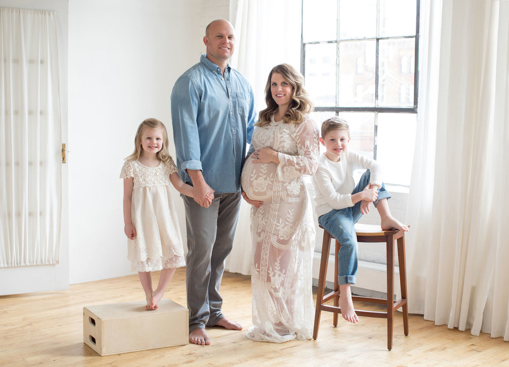 Family of four natural light studio and maternity photography session