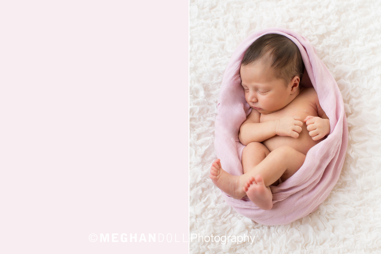 little newborn girl cacooned in a soft pink swaddle.