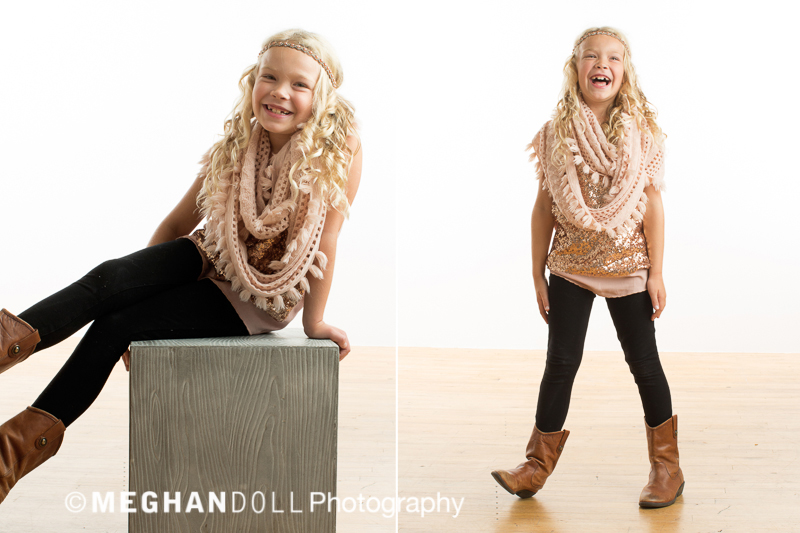 Bohemian eight year old girl wearing a sequin top with a cozy scarf.