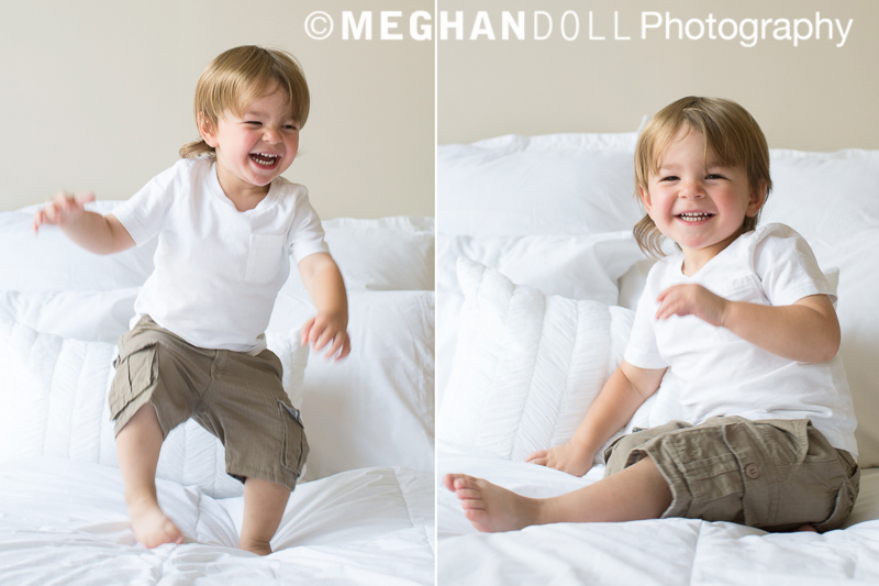 little boy jumping on the bed, having fun.