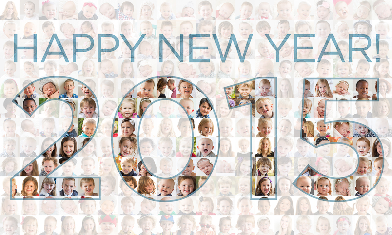 200 faces of little kids with 2015 super imposed over it.