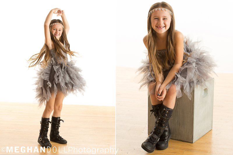 7 year old diva struts her stuff for the camera while twirling her tutu dress around