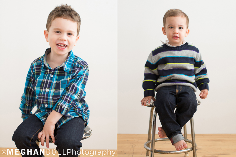 handsome 4 year old big brother and 2 year old little brother sit on stools all dressed up
