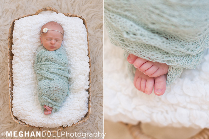 tiny newborn baby girl sleeps all wrapped up in mint with her little toes peeking out