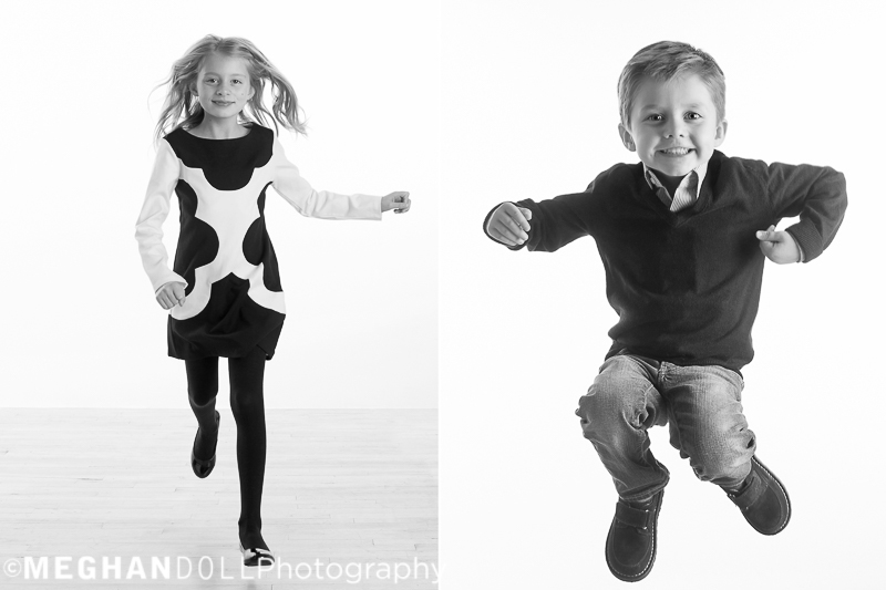 big sister and big brother let their energy out running around the studio