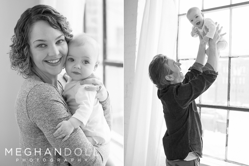 mom and dad play with their adorable 6mo baby girl