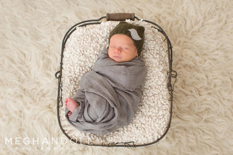 tiny newborn boy in bird hat sleeps in metal basket