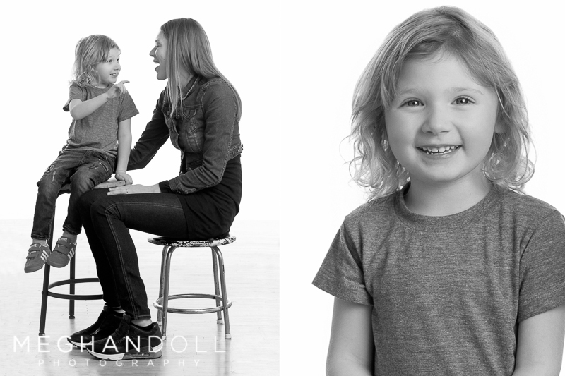 three year old boy and mom talk together while sitting on stools