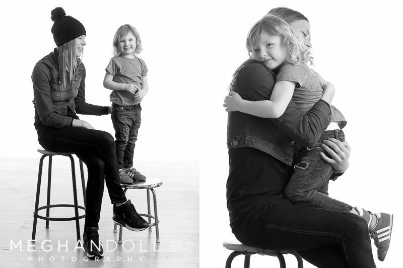 three year old boy gives mom a big hug