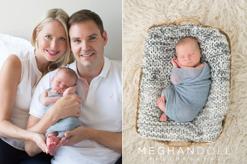 proud-parents-pose-with-newborn-baby-boy-and-he-sleeps-in-big-basket