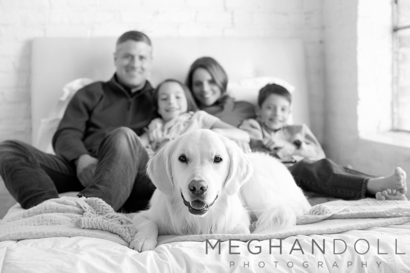 family-of-four-snuggle-on-bed-with-their-dog