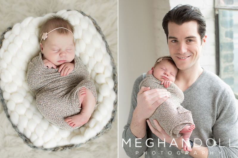 newborn-girl-in-basket-dad-holding-newborn-baby-snuggling