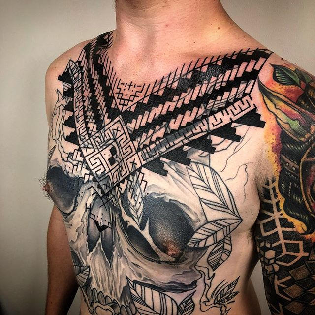 Huge Thank you and S/O to fellow artist and co worker @danmasontattoo for letting me do this to him. 10 hours no complaining, no moving, no bitch shit take a look at a real mans chest here! #johnnykelly #omkaratattoo #blackwork #tribal #sacredgeometry #philadelphia