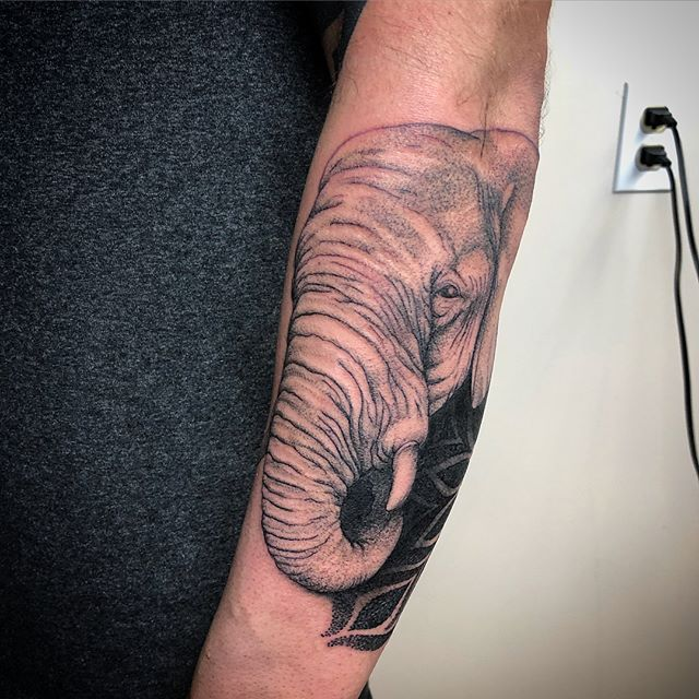 Elephant dala I started. Thanks for looking!! #johnnykelly #omkaratattoo #philadelphia #mandala #sacredgeometry #elephanttattoo
