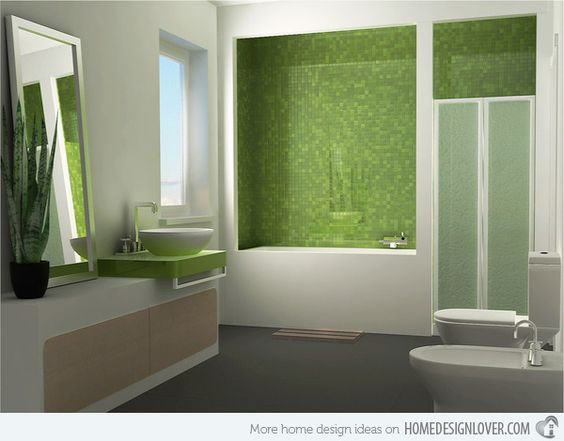 What a great way to incorporate green into a bathroom decor. #dreambath