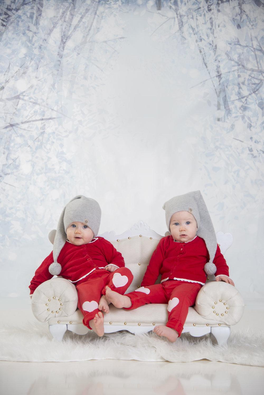 tvillinger julekortfotografering