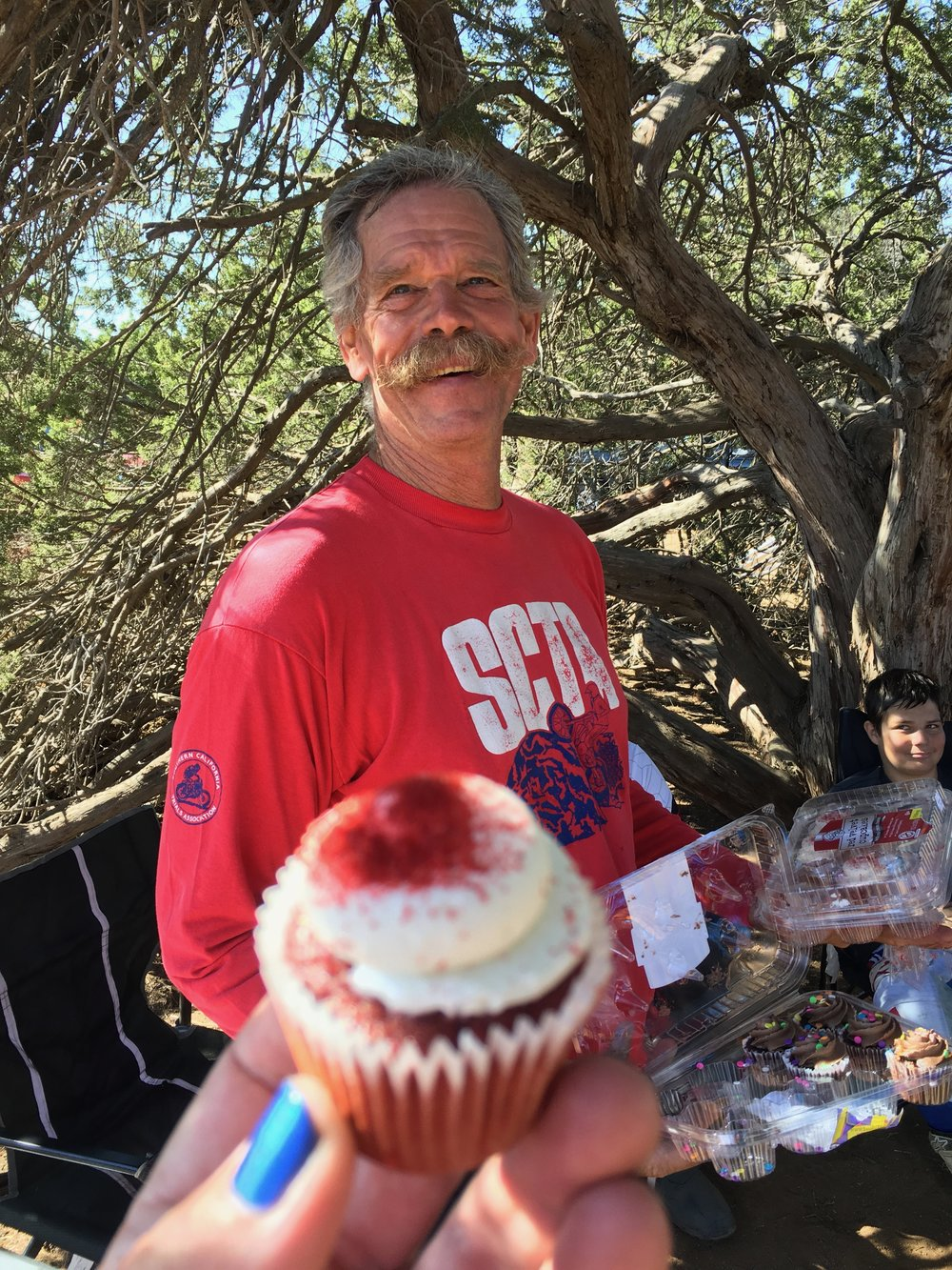 Trials AND Cupcakes? What a wonderful world. Clyde looks on in merriment.