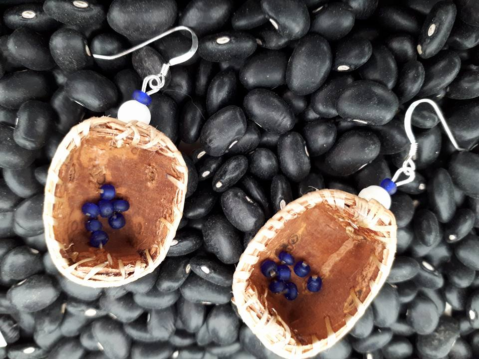 Birch Bark Basket Earrings and Blue Berries.jpg